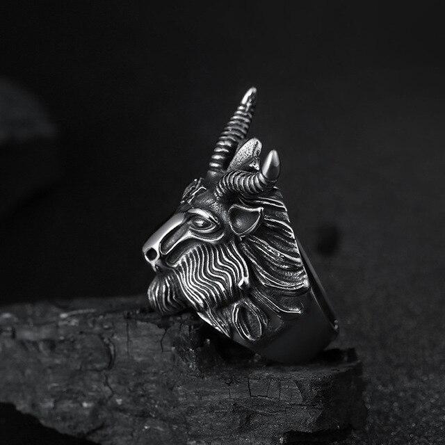 Aries Zodiac Goat Head Ring 4