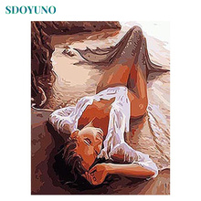 SDOYUNO Sexy Painting By Numbers Mermaid DIY Gift  Wall Pictures For Living Room Framed Home Decoration Modern Wall Art Canvas мегре в новая цивилизация кн 8 ч 1