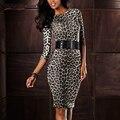 KaigeNina Nueva Hot Sale Fashion Women O-cuello de Tres Cuartos de Trabajo Del Club Del Partido de Coctel Del Leopardo Clubwear Bodycon Vestido Tubo 2202