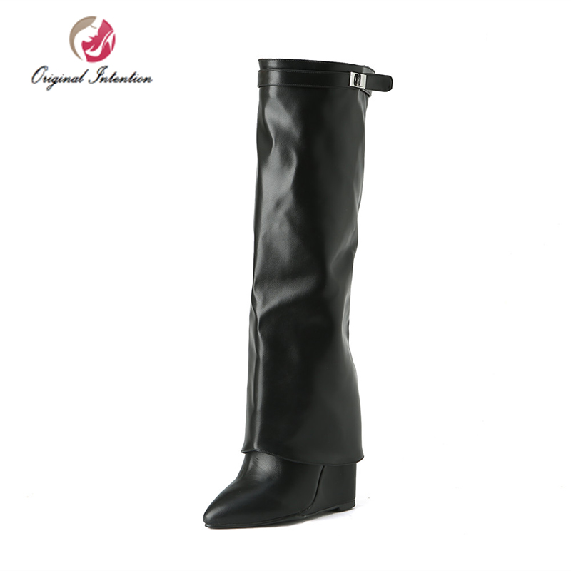Original Intention Women High Heels Knee High Boots Stylish Wedges Winter Buckle Chaussures Femme Sexy Pointed