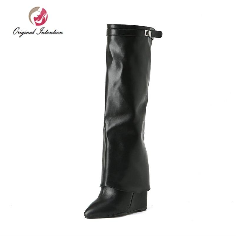 本来の意図女性ハイヒールニーハイブーツスタイリッシュなウェッジ冬バックル Chaussures ファムセクシーな靴  グループ上の 靴 からの ニーハイブーツ の中 1