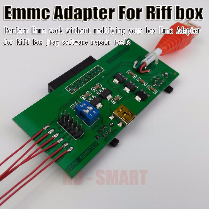 US $12 8 |2017 new Perform eMMC work without modifying your box EMMC  Adapter for Riff BOX jtag software repair tools-in Telecom Parts from  Cellphones