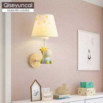 Qiseyuncai İskandinav basit çocuk odası duvar lambası sevimli hayvan karikatür erkek kız yatak odası başucu ahşap duvar lambası ücretsiz kargo