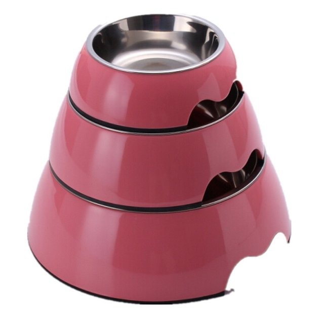 Hot Solid Melamine Plastic Stainless Steel Dog Bowl Dog and Cat Feeder Pet Dinner Dish Feeding and Watering 6 Colors