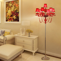 Red Floor Lamp for Living room Bedroom Bed Side Decor Crystal Standing lamp Indoor home lighting with Lamp Shade For Floor lamp