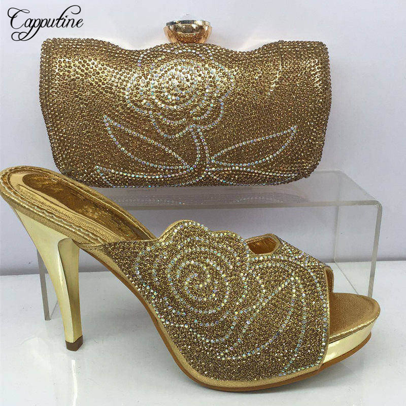 Capputine 2017 New Aarival Woman Shoes And Bag Set Nigerian Rhinestone Woman High Heels Shoes And Bag For Party 7Colors BL425 capputine italian fashion design woman shoes and bag set european rhinestone high heels shoes and bag set for wedding dress g40
