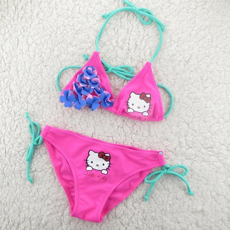 785d851e68525 Cute hello kitty Children Swimwear 2018 New Summer Children Split Two-piece  Swimsuit Girl Bikini Girls Beautiful Baby Swimsuit
