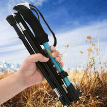 1 × 伸縮 4 セクション調節可能なハイキングトレッキングポール杖スティック松葉杖アルミ合金折りたたみ杖ウォーキングスティック
