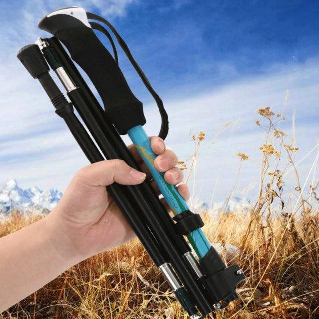 1 x Telescopic 4 Section Adjustable Hiking Trekking Walking Pole Cane Stick Crutch Aluminum Alloy Folding Cane Walking Sticks