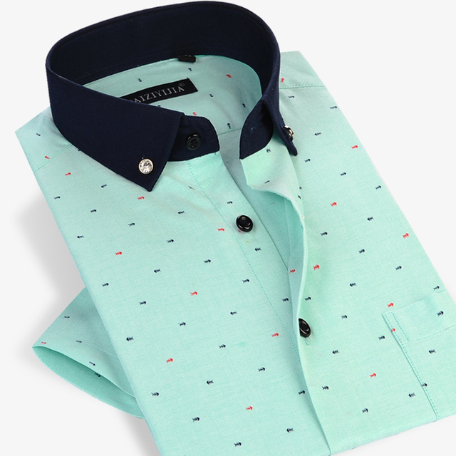 Verão 2017 Homens de Manga Curta Padrão De Espinha de Peixe Camisas Casuais Cor do contraste Conforto Macio Slim Fit Algodão Botão Para Baixo do Vestido camisa