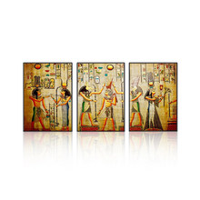 Modular Egypt Poster Canvas Prints Oil Painting 3pcs Ancient Egyptian Picture Framed Figure Mural Room Wall Art Paint Home Decor(China)
