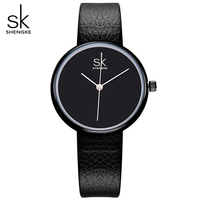 SK New Fashion Women Luxury Brand Watches Ladies Leather Classic Black Watch Simple Women S Quartz