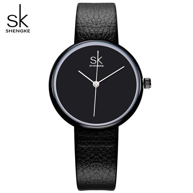 Sk Neue Mode Frauen Luxus Marke Uhren Damen Leder Klassische Schwarz
