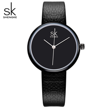 SK New Fashion Women Luxury Brand Watches Ladies Leather Classic Black Watch Simple Women's Quartz Wristwatch Feminino Relogio