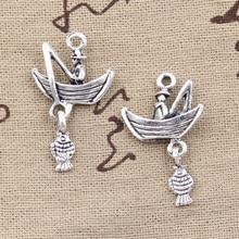 99Cents 4pcs Charms fisherman fishing boat 31*19mm Antique Making pendant fit,Vintage Tibetan Silver,DIY bracelet necklace