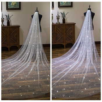 Bling Bling Star Long Cathedral Bridal Veil 2019 3M Long Gold ivory Bridal Wedding Accessories One Layer With Comb