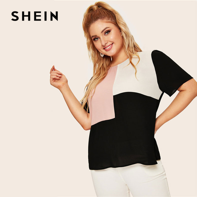 SHEIN Plus Size Keyhole Back Cut-And-Sew Women Blouse Summer Casual Colorblock Round Neck Short Sleeve Blouse Ladies Tops 4