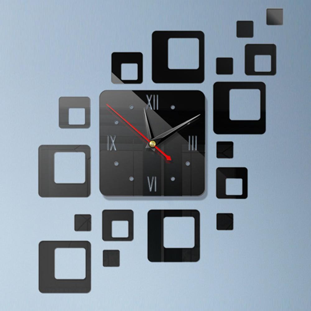 DIY 3D зеркальные настенные наклейки настенные часы художественная роспись домашний Декор Гостиная ТВ Фоновые наклейки настенные часы кварцевые иглы - Цвет: F Black