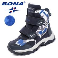BONA/ популярный стиль; детские ботинки на липучке; зимняя обувь для мальчиков; ботильоны с круглым носком для девочек; удобная быстрая