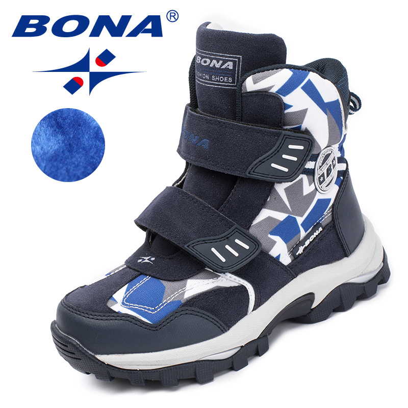 BONA New Popular Style Children Boots Hook & Loop Boys Winter Shoes Round Toe Girls Ankle Boots Comfortable Fast Free Shipping