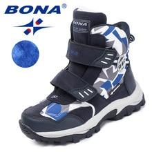 BONA – Bottines à scratch pour enfants, chaussures d'hiver à bout rond pour garçons, confortables, nouvelle collection, livraison rapide