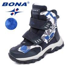 BONA Yeni Popüler Stil Çocuk Botları Kanca ve Döngü Erkek Kış Ayakkabı Yuvarlak Ayak Kız yarım çizmeler Rahat Hızlı Ücretsiz Kargo
