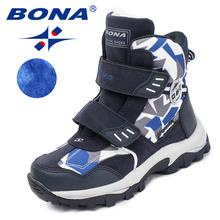 BONA nowy popularny styl dzieci buty Hook amp pętla chłopcy zimowe buty okrągłe toe dziewczyny kostki buty wygodne szybka bezpłatna dostawa tanie tanio 7-9Y 4-6Y 10-12Y Gumowe Tkanina bawełniana Zima Płaskie z Dobry Szycia Zaczep pętli Syntetycznych Okrągły palec