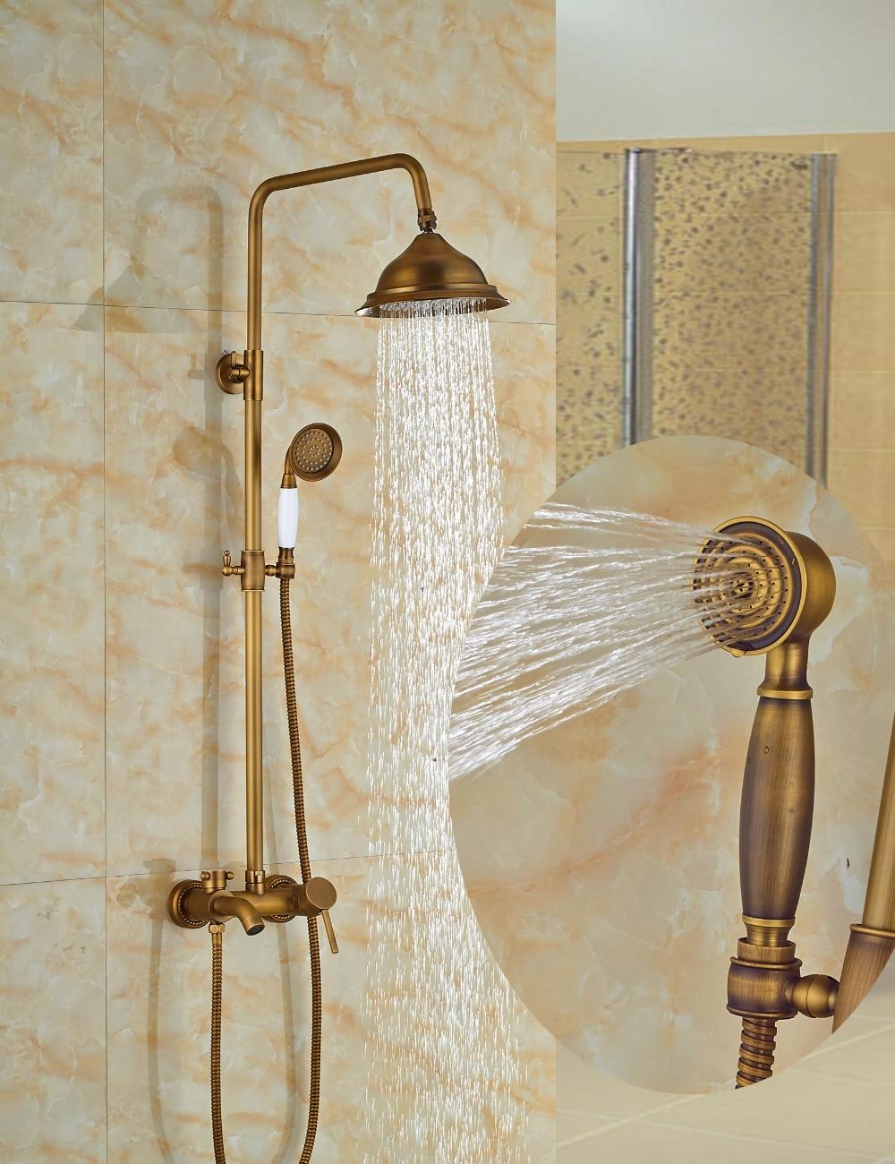 Wholesale And Retail Modern Antique Brass Rain Shower Head Faucet Valve Mixer Tap W/ Hand Shower Sprayer Shower Column