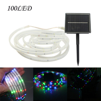 Solar Powered RGB Led Strip Waterproof 5M 100 Led Strips Light Christmas Party String Lights Garden Wedding Lawn Light Strip J20