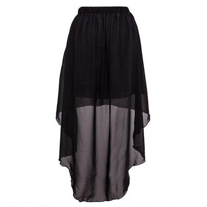 custom made high low black skirt elastic waistline floor