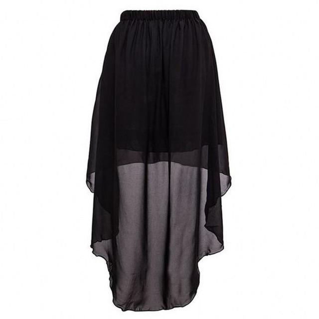 d44ce3e5a € 22.77  Por encargo de la alta baja falda negro elástico cintura piso  longitud Falda larga Maxi escarpado gasa asimétrico Faldas mujeres en ...