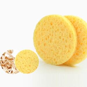 Image 5 - ShinBay 100pcs טבעי עץ עיסת ספוג לשטיפת פנים ניקוי Pad פנים טיפול תאית ספוג פאף מנקה
