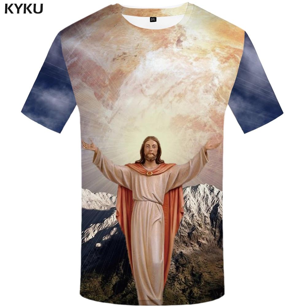 KYKU Jesus   T  -  shirt   Men Character   T     Shirt   Hip-hop Tshirt Moon Anime Clothes Cool Funny   T     Shirts   Gothic Mens Clothing 2018 Summer