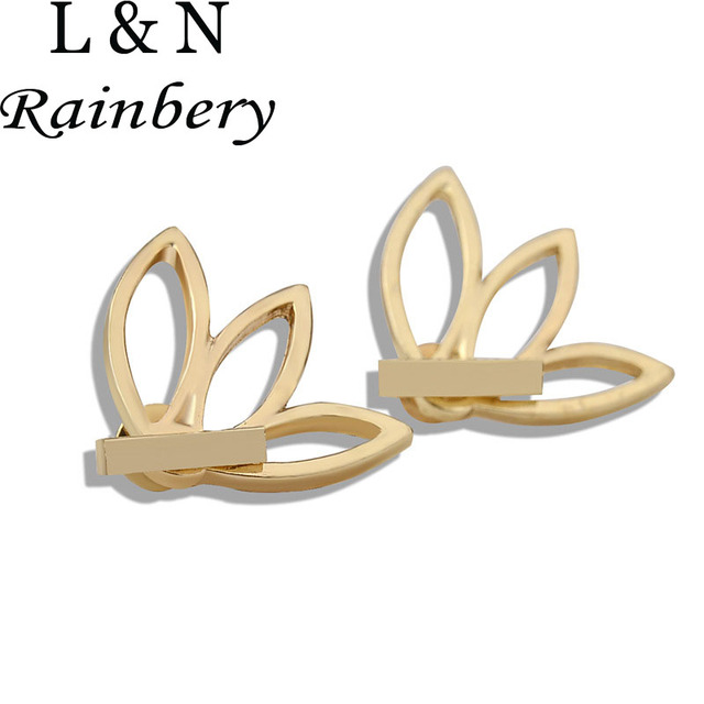 Rainbery Vintage Fashion Gold Silver Plated Crystal Rhinestone Lotus Flower Earrings Double Side Stud For