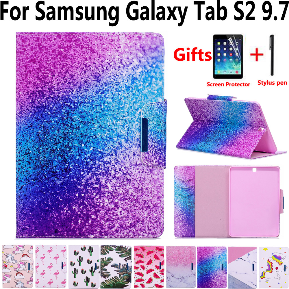 Tablet Cover Case for Samsung Galaxy Tab S2 9.7 T810 T815 T813 T819 Smart Case with Screen Protector Film for Samsung Tab S2 9.7
