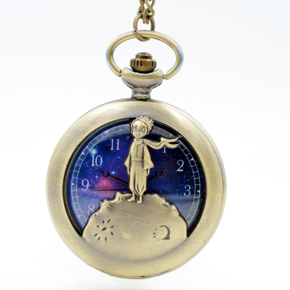 Retro Antique Bronze Little Prince Pocket Watch Vintage Fob Quartz Clock With Chain Necklace Pendant For Children Gift