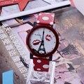 Womage reloj de moda torre eiffel cuero del punto de polca mujeres del reloj relojes de las mujeres reloj de señoras reloj montre femme reloj mujer