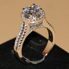 Drop ship Luxury Jewelry 925 Sterling Silver Round Cut White Clear 5A Cubic Zirconia Women Wedding Crown Band Ring Set Gift