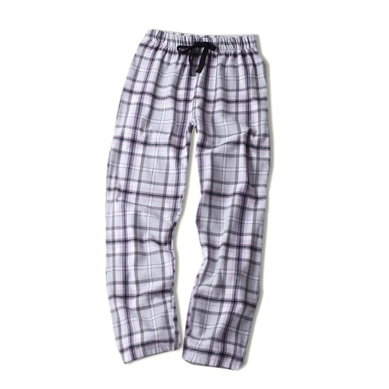 Spring 100% cotton sheer sleep bottoms women comfort Casual Warm couples sleepwear trousers plaid pijamas sheer women pants