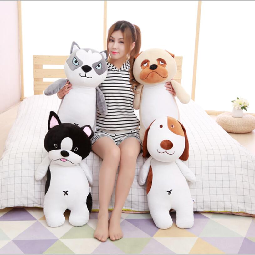 80cm large super cute plush toy dog Bulldog husky Shiba Pug pillow down cotton filling as a gift to the children and friends 40cm super cute plush toy panda doll pets panda panda pillow feather cotton as a gift to the children and friends
