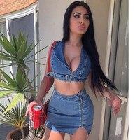 Hot Sale 2019 Fashion Women Summer Zipper Denim Two Piece Set Casual Blue Button Sleeveless Sexy Crop Top And Skirt Set