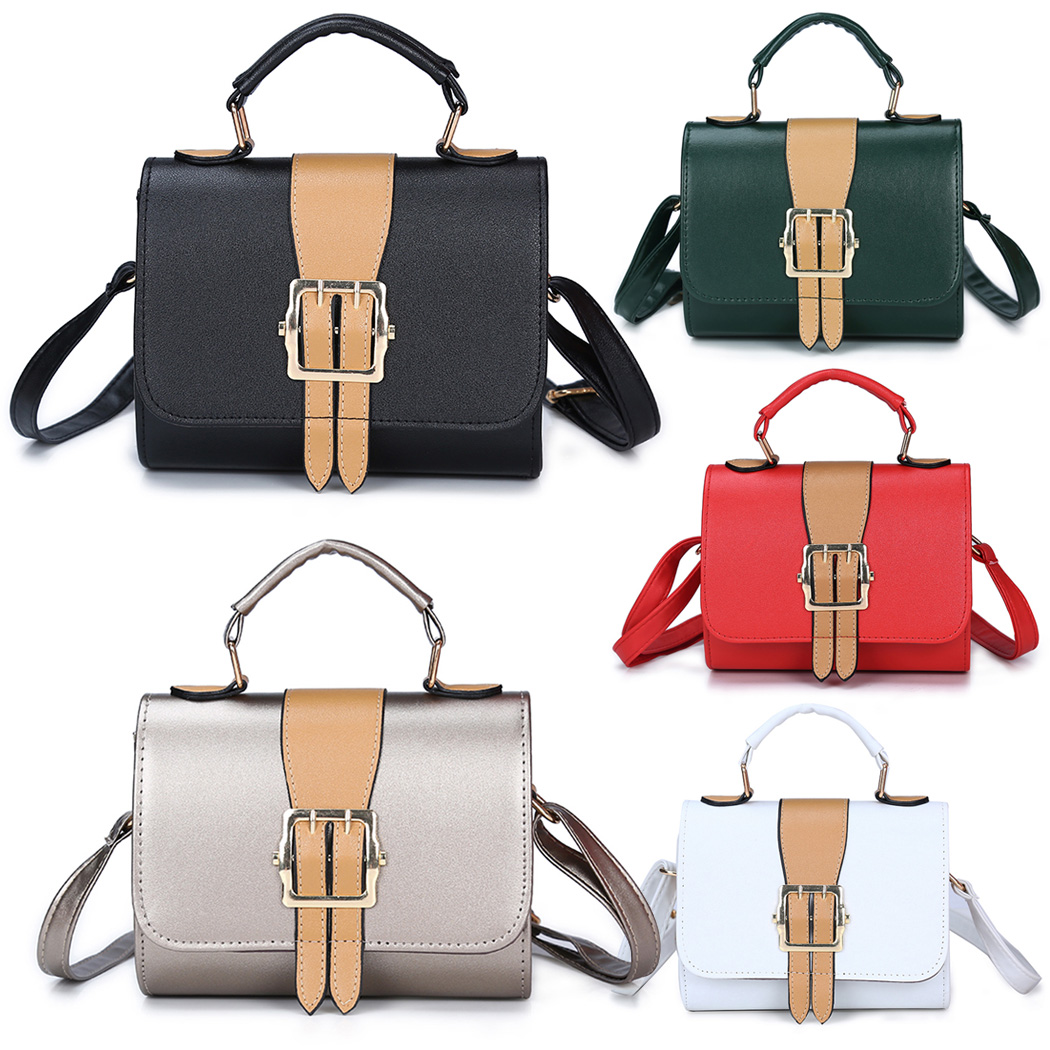 2018 Women Chains Casual Panelled Contrast Color Hasp Bag Lady PU Leather Messanger Bag  ...