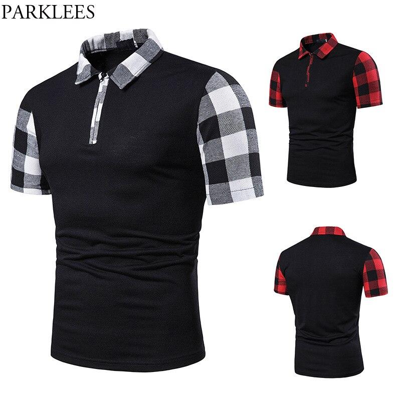 Fashion Plaid Patchwork   Polo   Shirt Men 2019 Summer Short Sleeve Mens   Polos   Hip Hop Streetwear Tee Shirt Homme   Polos   Para Hombre