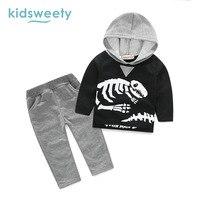 Kidsweety Baby Suit Set 2 Pieces Comfortable Boys Hooded Pants Cartoon Skeleton Printed Long Sleeve Children