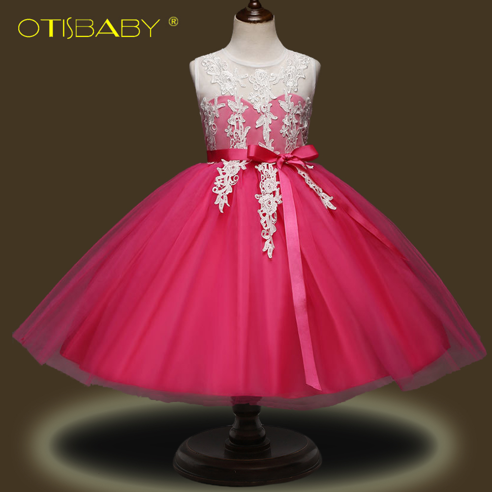 Summer 2018 Girls New Year Party Dress Kids Baby Girl Sleeveless Flower Girls Dresses for Party and Wedding Prom Communion Dress new year flowers flower dresses for wedding party baby girls christmas party princess clothing children summer dresses