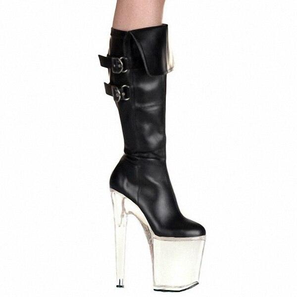 Sexy Chaussures À Cm Talons Genou Boucle Hauts Plate De Pouce Femmes Bottes Stretch Cavalier 8 forme Haute 20 Cristal Aiguille Talon Mode 58THx
