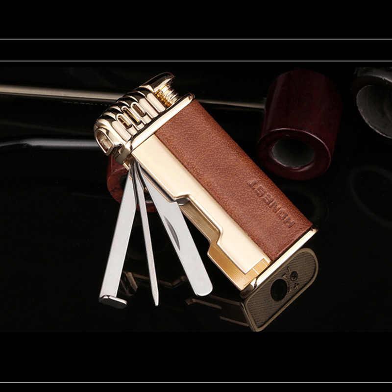 מיני כיכר צורת אחיזה גברים תכליתי Jet בוטאן מצית רטרו מתכת מנופח גז מצית סיגריות Accessorie