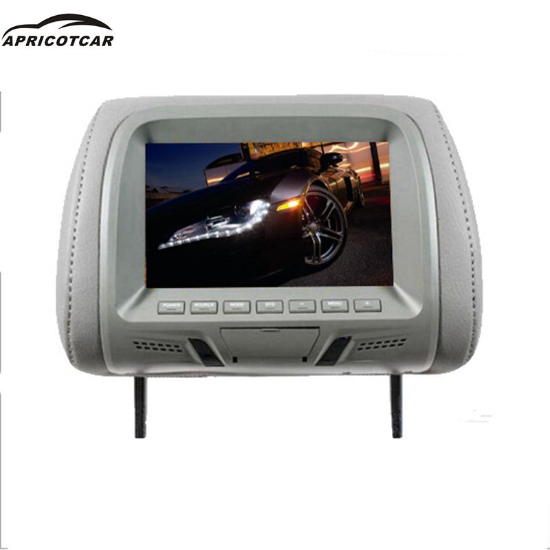 7 pouce affichage oreiller à usage Général sur-conseil à cristaux liquides De Voiture Moniteurs Vidéo Joueurs OSD menu TFT LCD écran USB SD carte