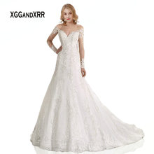 XGGandXRR Elegant Long Sleeves Lace Wedding Dress 2019