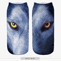 2016 bonito adorável 3D lobo olhos impresso da menina das mulheres crianças Ladys Socks Casual dos desenhos animados meias Unisex Low Cut meias